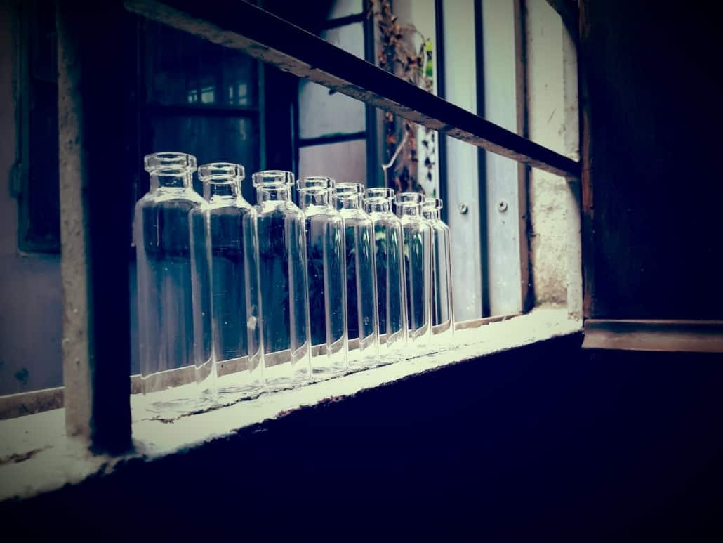 empty glass bottles at a factory